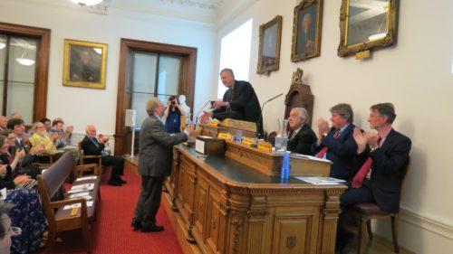 Picture of Howard Matcham receiving the HH Bloomer medal