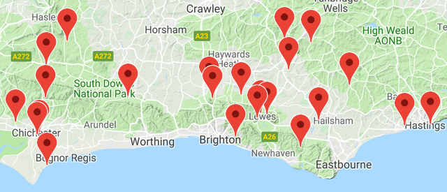 Map of recording sites in Sussex