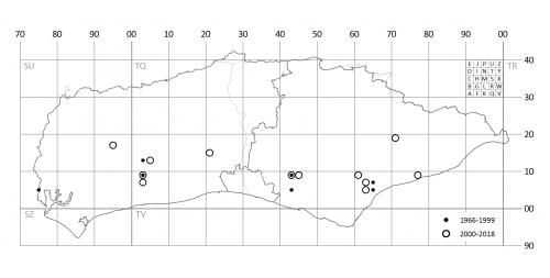 Distribution map of Chara vulgaris var papillata in Sussex